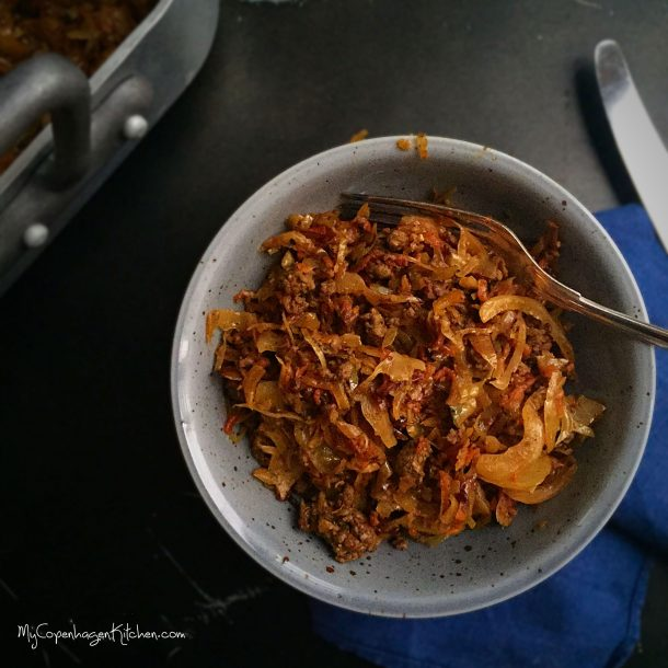 Caramelized cabbage with spicy ground beef