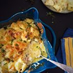Baked cauliflower casserole with bacon and cheese - a delicious low carb high fat side dish --> MyCopenhagenKitchen.com