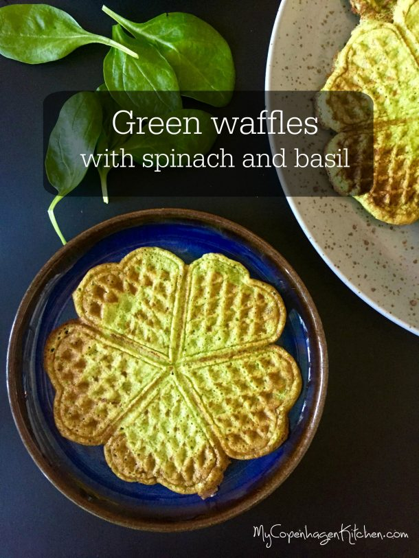 Green waffles with spinach and basil - glutenfree, grainfree and low carb/LCHF --> MyCopenhagenKitchen.com
