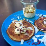 Low carb pancakes served with almond butter and delicious toppings - get the recipe here: MyCopenhagenKitchen.com