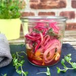 Marinated red onions with orange and thyme. Perfect for salads or sandwiches. Easy recipe here: MyCopenhagenKitchen.com
