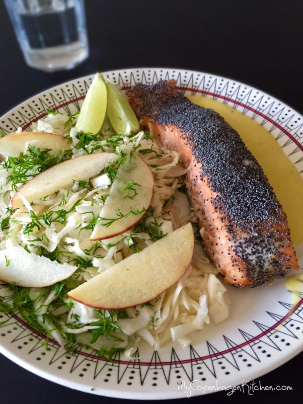 Easy paleo dinner: Oven baked salmon with poppy seeds and fennel-cabbage-salad with apple and dill. -->MyCopenhagenKitchen.com